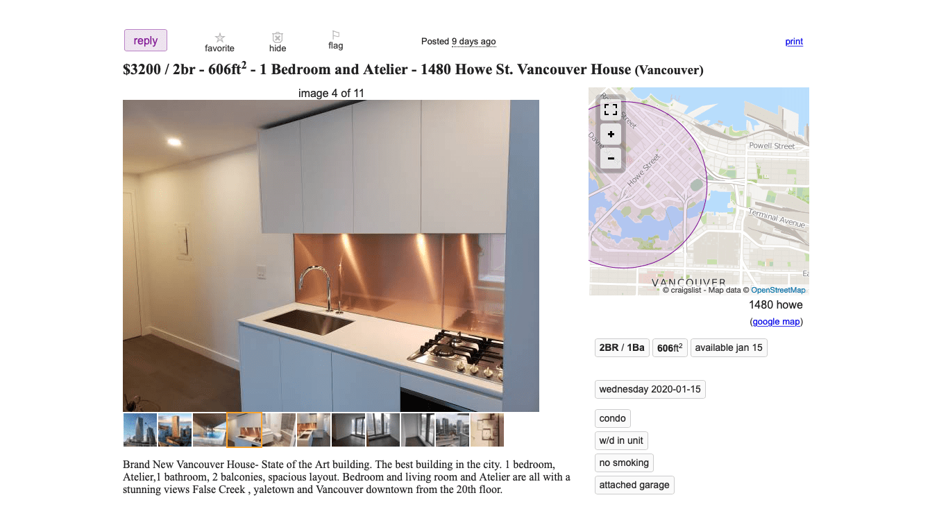 Rentals At Vancouver House 3200 For A One Bedroom Urbanyvr