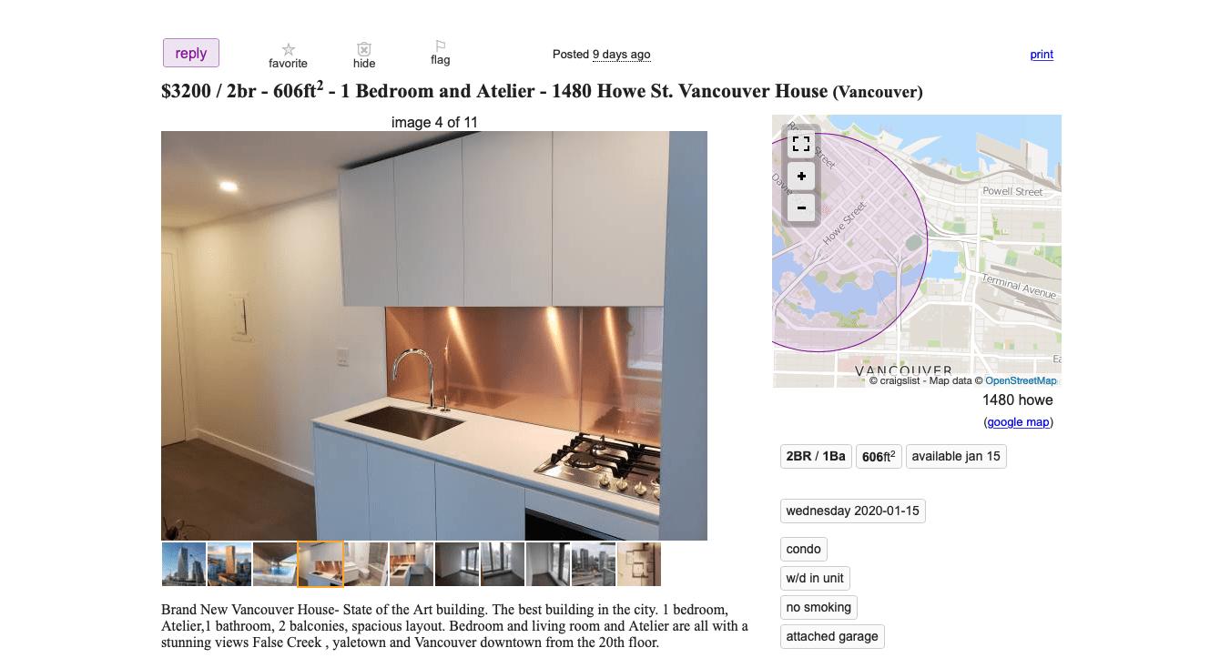 Craigslist north vancouver rentals