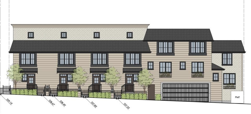 Oak Street townhouses rendering