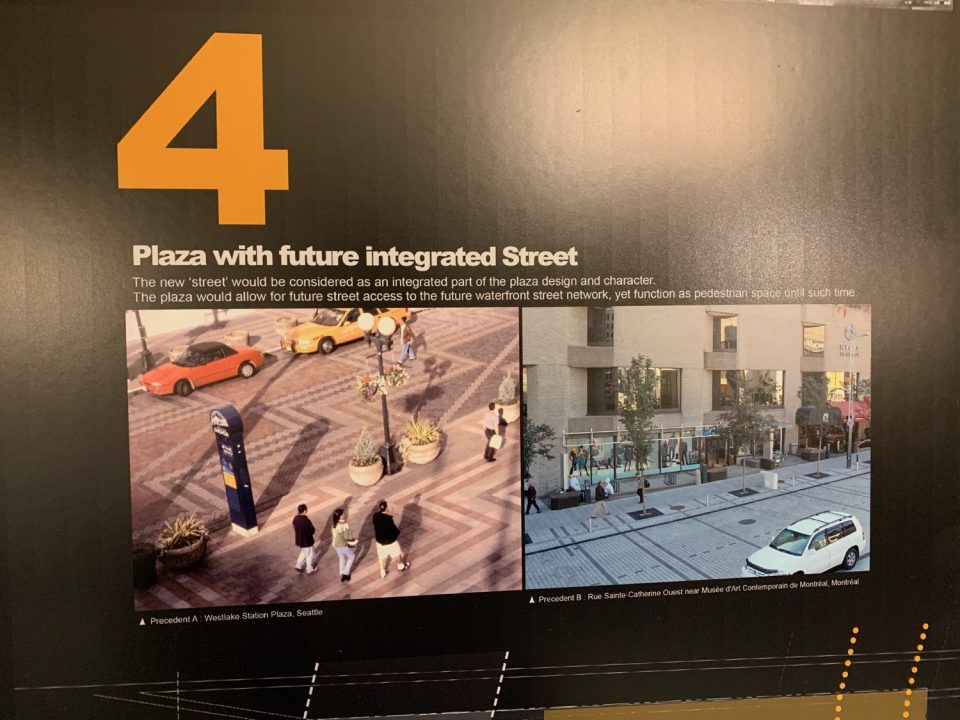 Plaza with future integrated street