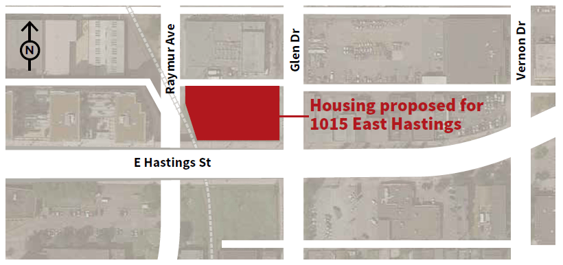 1015 East Hastings affordable housing location