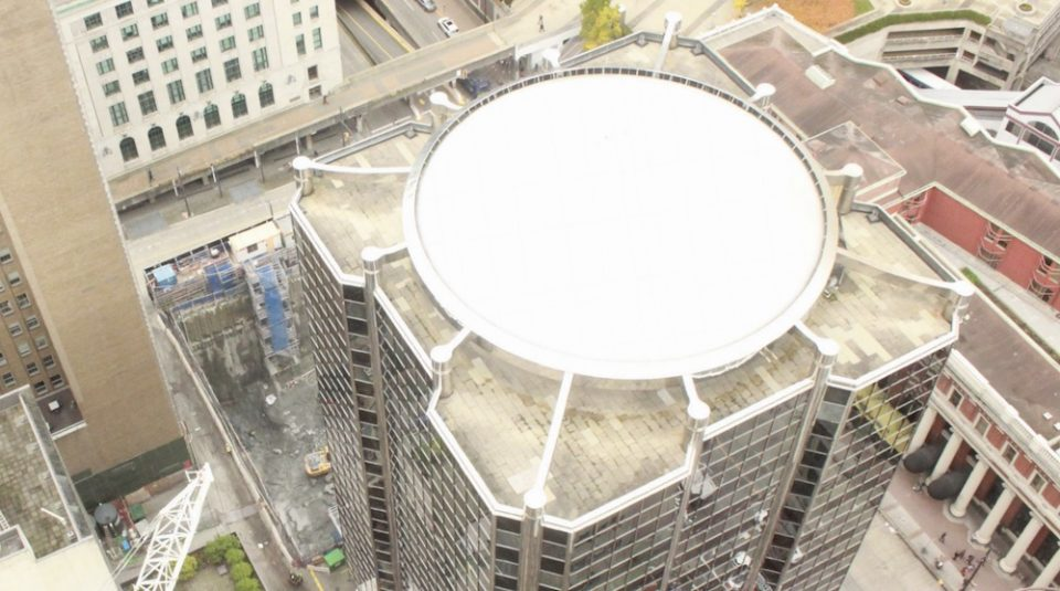 Existing dome with overlook from neighbouring towers