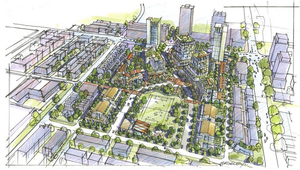 Overview of Oakridge Transit Centre development, looking south