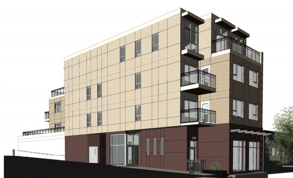 Four-storey building to squeeze onto 33′ lot off Main Street
