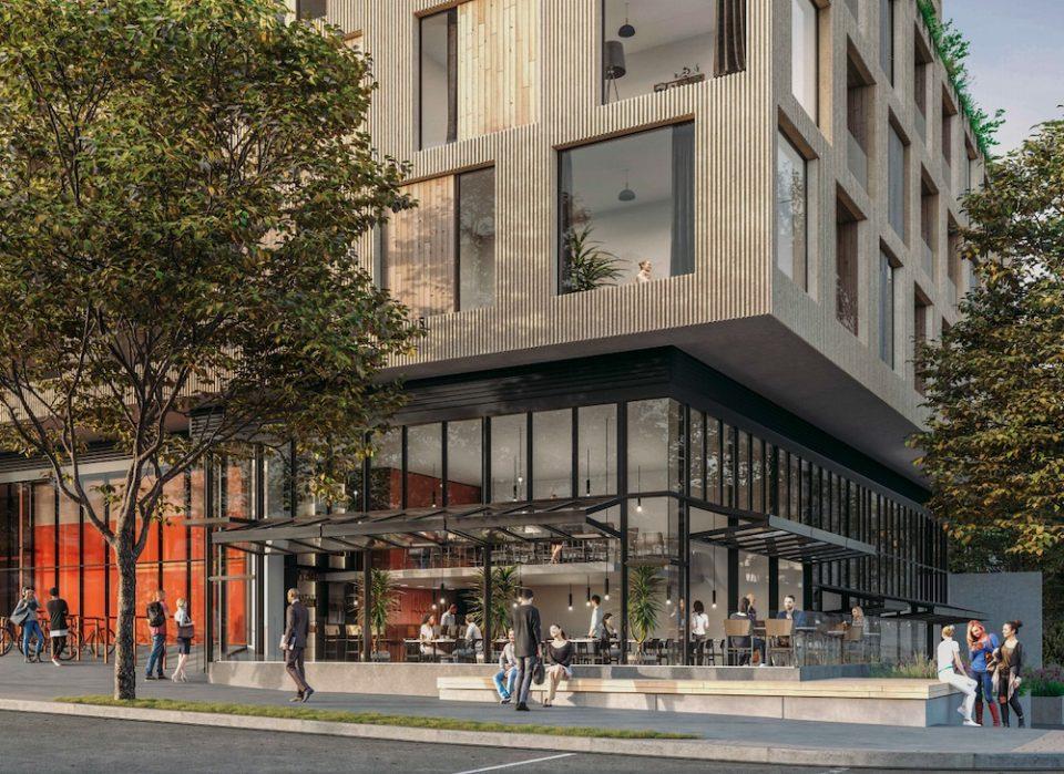 Tower rendering retail space