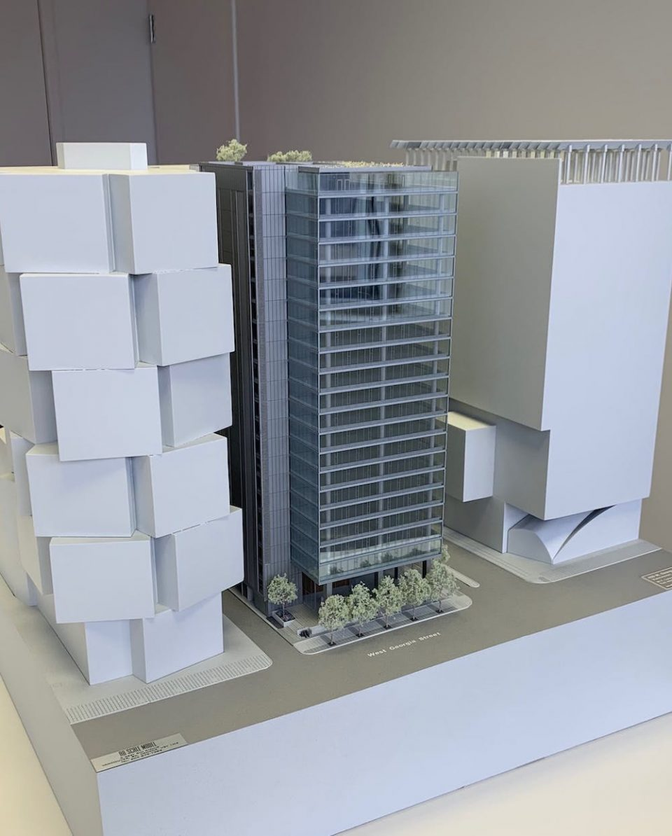 Tower model between two Westbank developments
