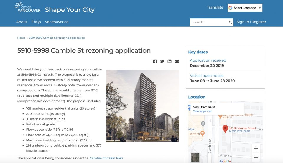 Shape Your City online rezonings example