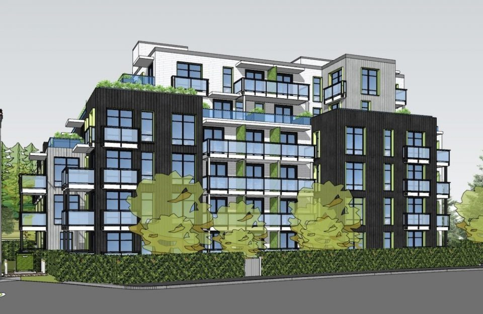 Six-storey rental building for bend of Clark Drive