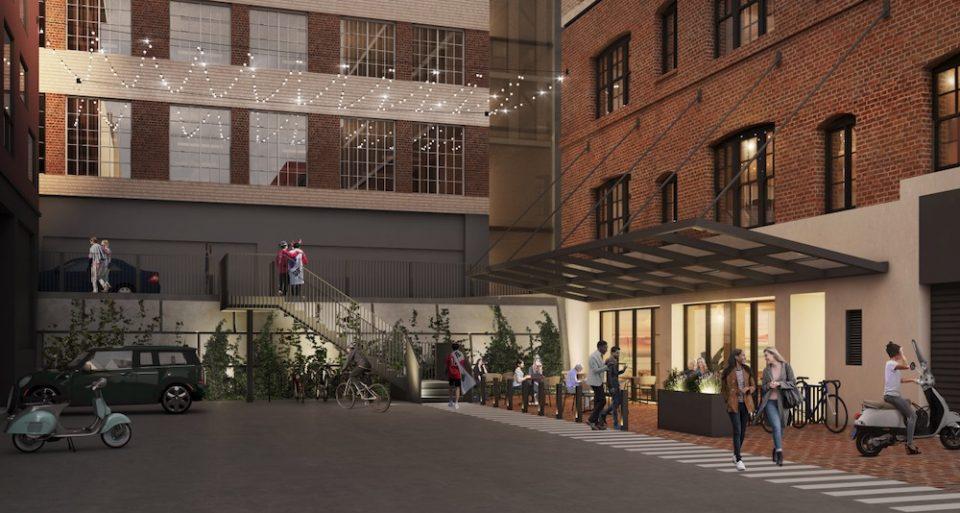 837 Beatty redevelopment rendering laneway activation