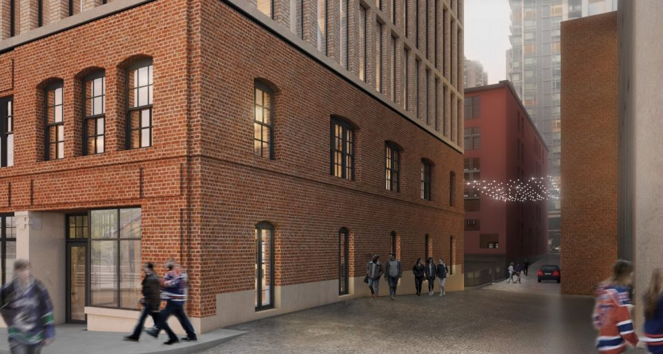 837 Beatty redevelopment rendering laneway activation lights