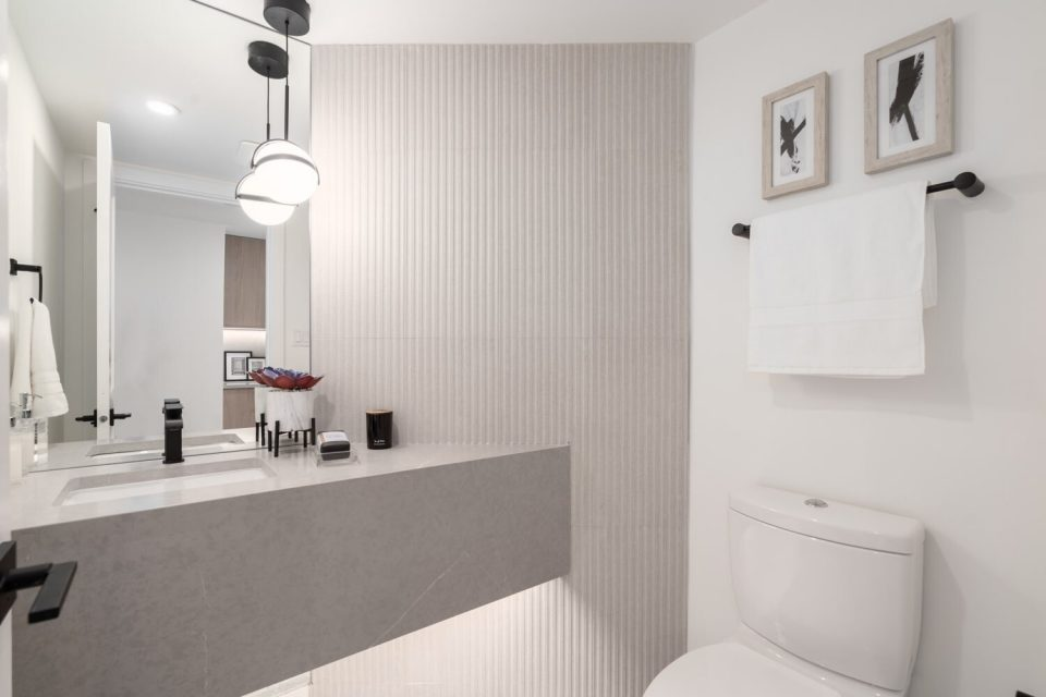 Bathroom with unique feature wall