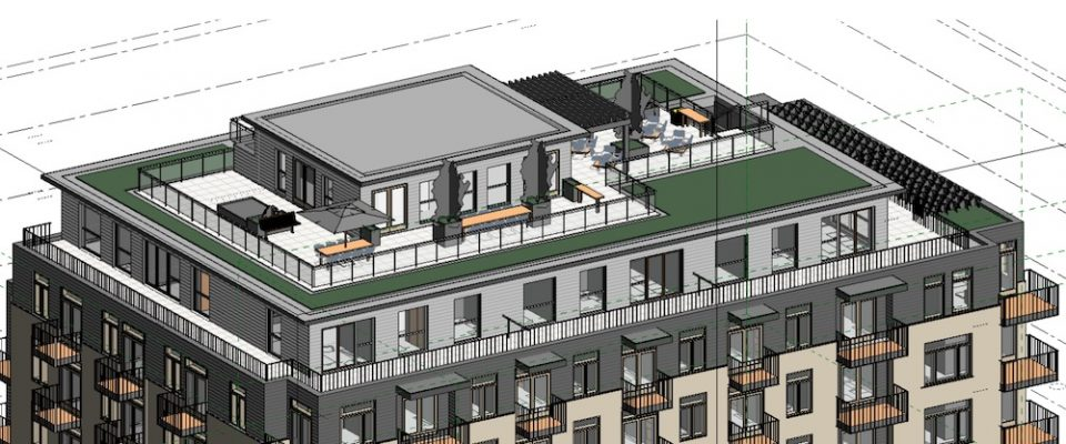 Roof Top Amenity- Looking from above at Corner of Larch & West 2nd Ave