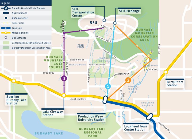 SFU gondola route options