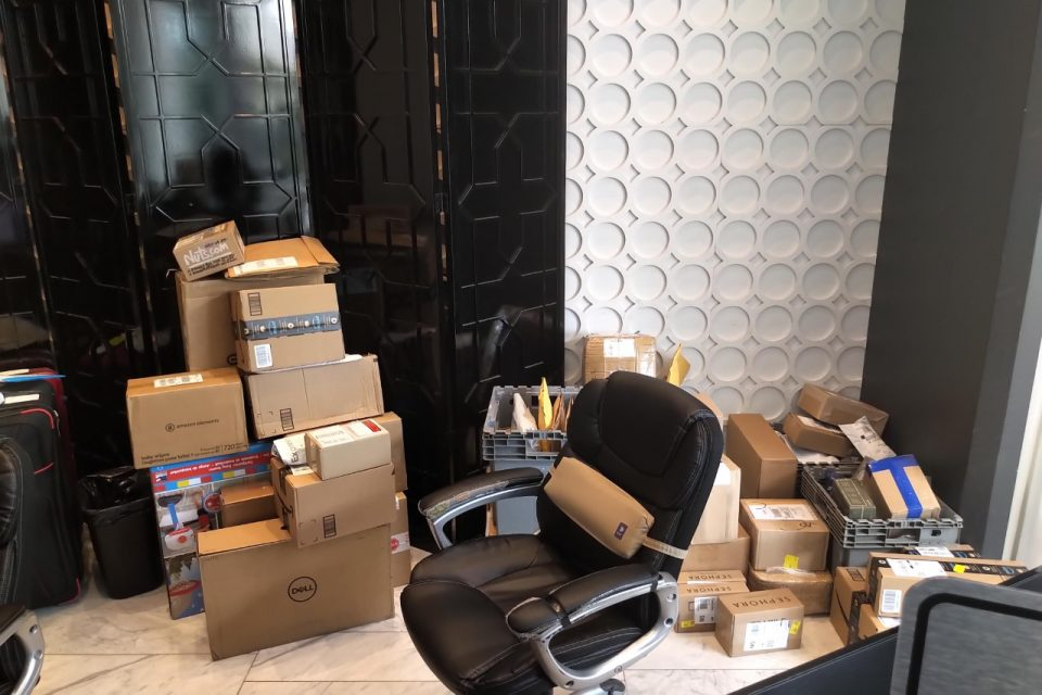 Parcels and packages in lobby