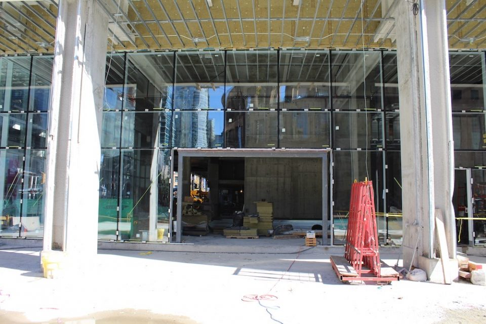 Future office tower lobby entrance