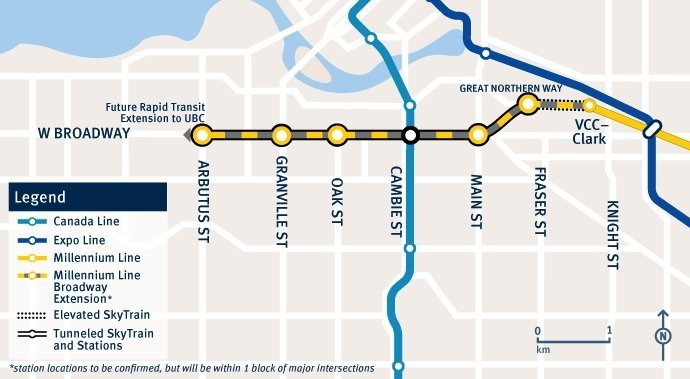 Map of Broadway SkyTrain extension