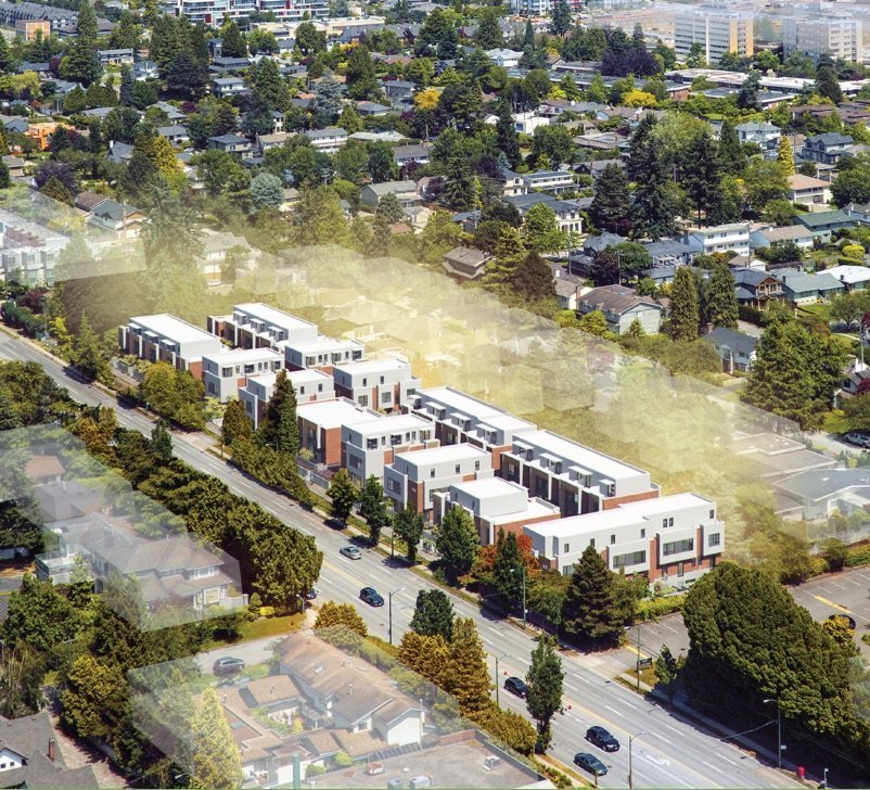 63 townhouses to replace nine single-family homes on Oak St.