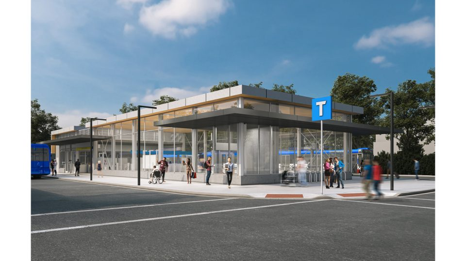 Rendering of future Arbutus SkyTrain station