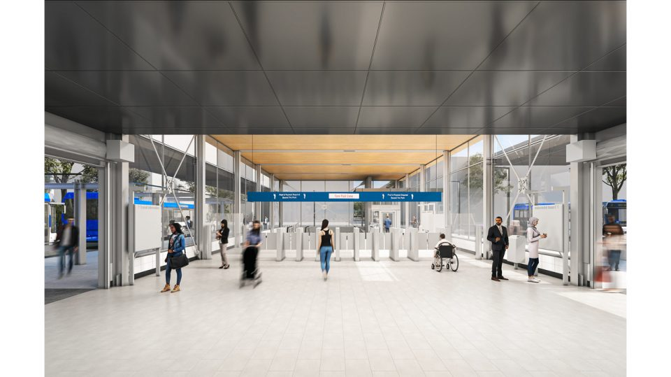 Rendering of interior of future Arbutus SkyTrain