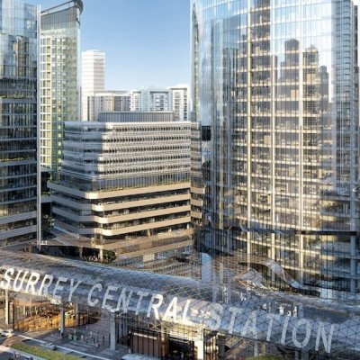 New office towers, SFU campus, and retail integrated with a revitalized Surrey Central Station