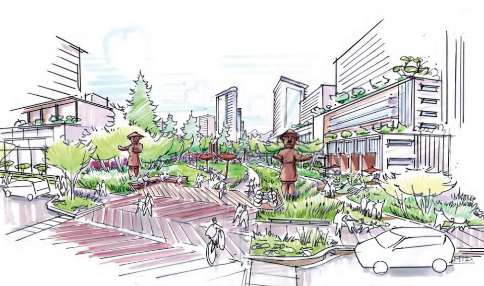 Conceptual illustration of the Heather Street right of way, looking north from West 37th Ave