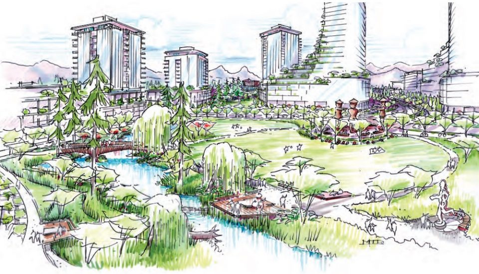 Conceptual illustration of the southern park, looking northwest