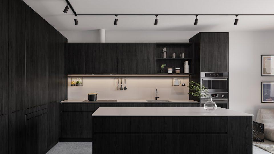 Format Cressey: Dark colour scheme in kitchen