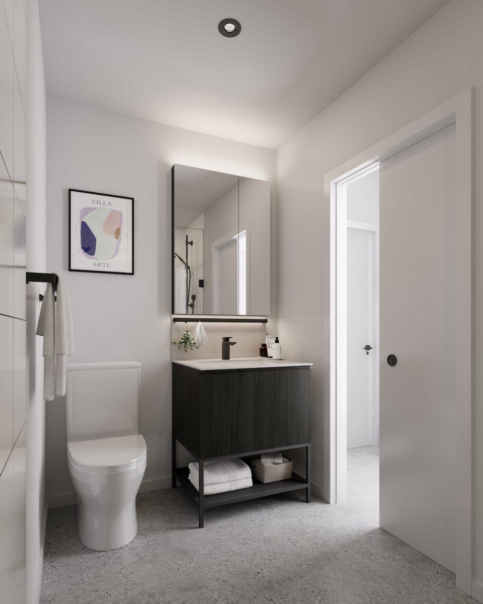 Dark colour scheme in bathroom