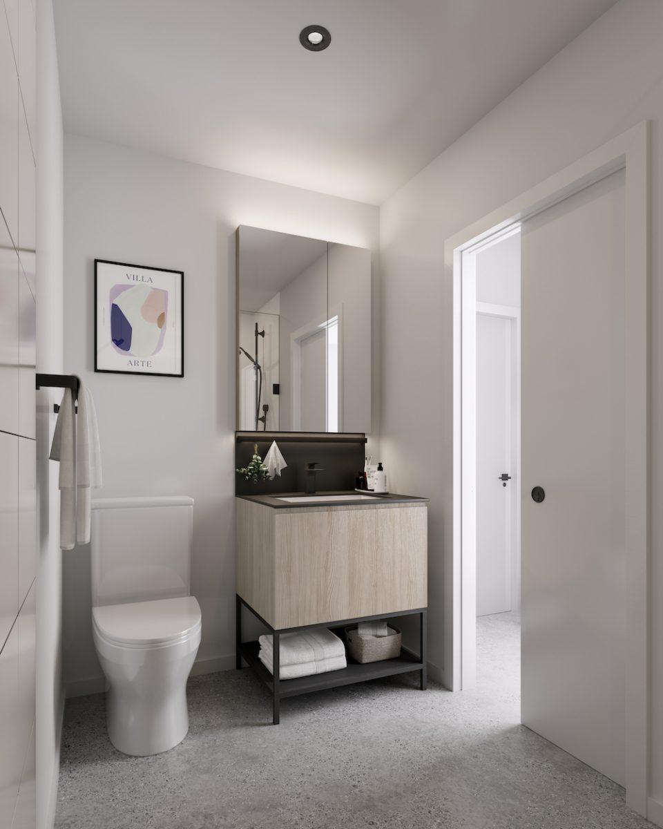Light colour scheme in bathroom
