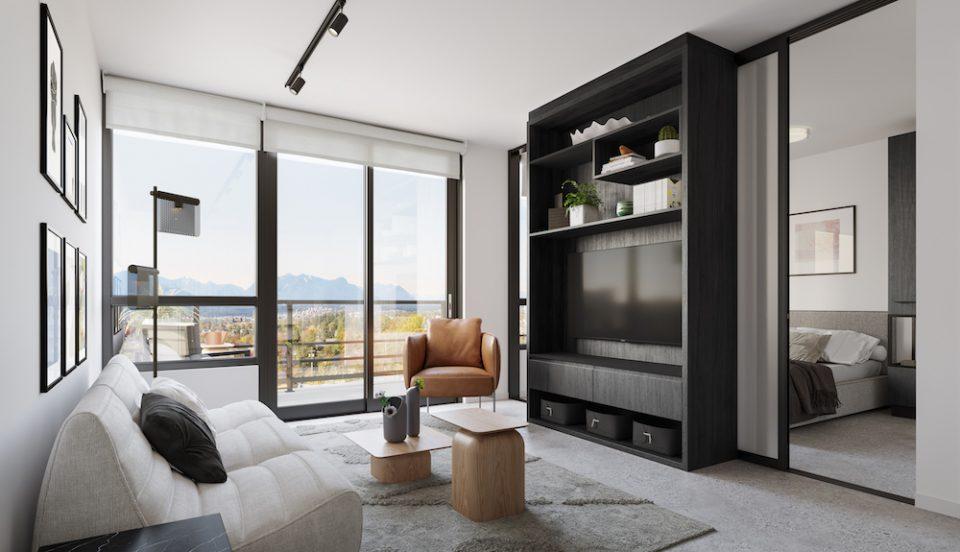 Living room, dark colour scheme