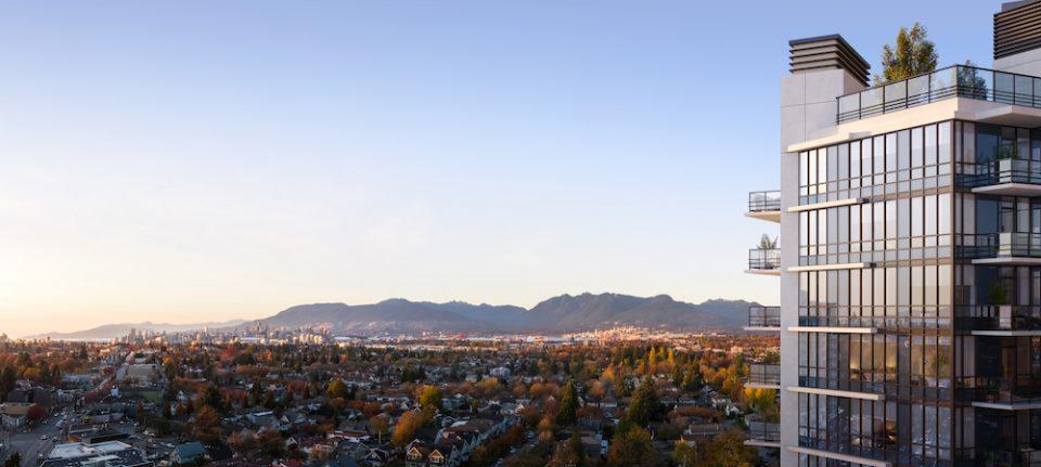 Aerial rendering of Format, looking towards downtown Vancouver