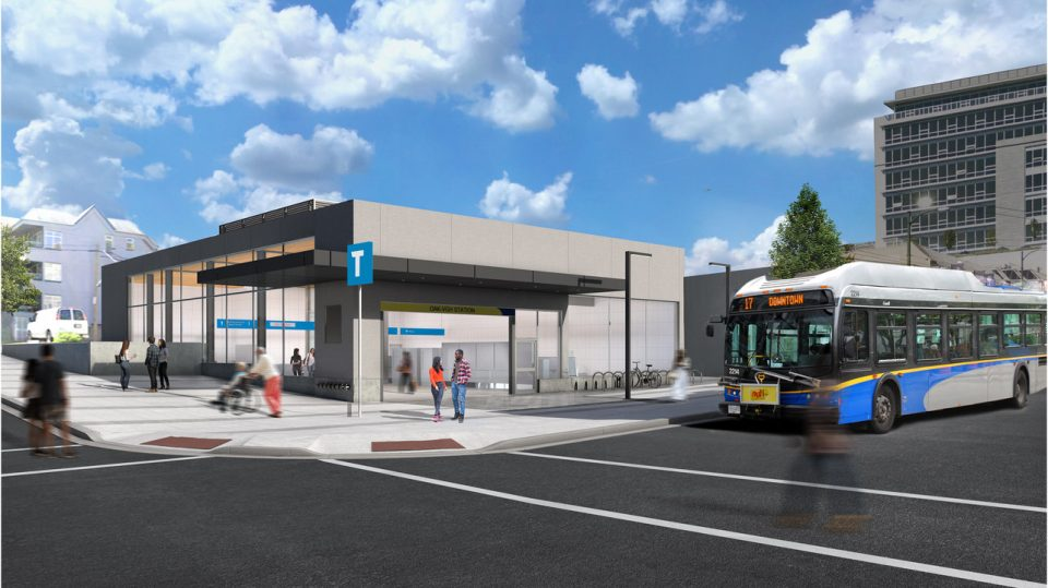 Broadway Subway extension - Oak-VGH Station rendering