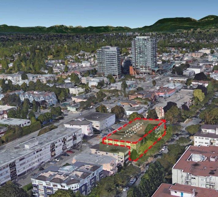 Bird's eye view of development site