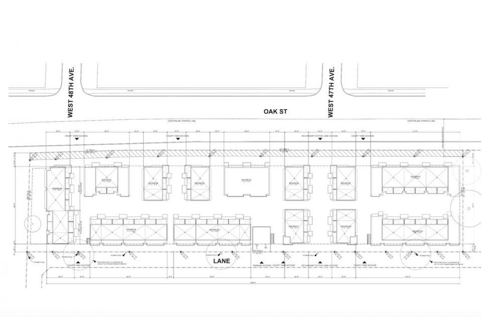 Site Plan Oak Street townhouses