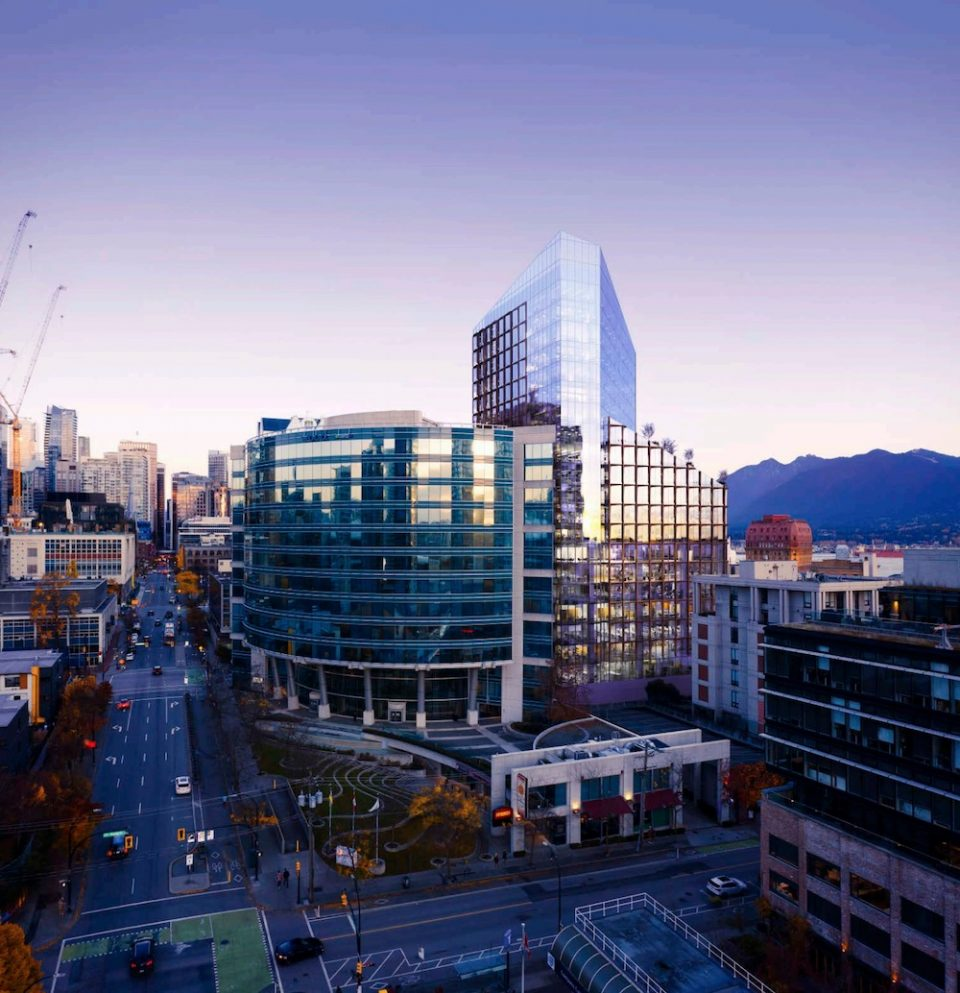 Aerial of 550 Cambie from Dunsmuir Street.