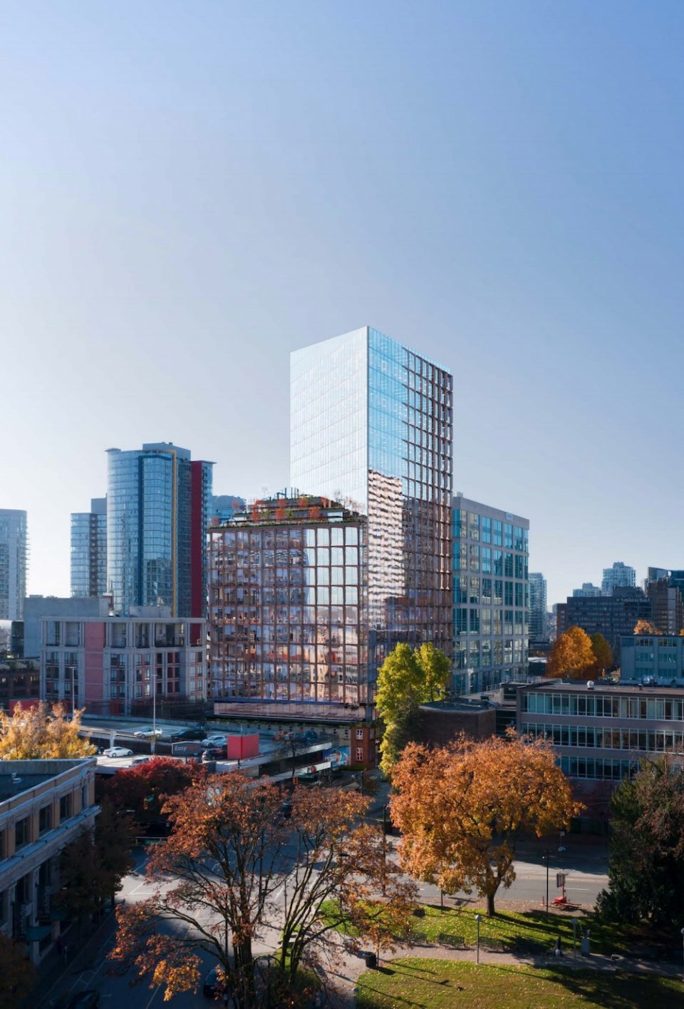 Aerial view of 550 Cambie from Victory Square