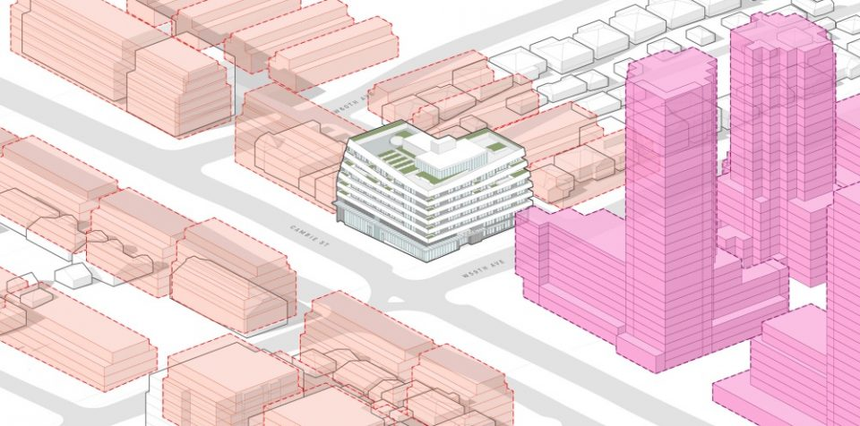 Proposed building, relative to planned buildout of Cambie Corridor, showing Pearson Dogwood Lands towers