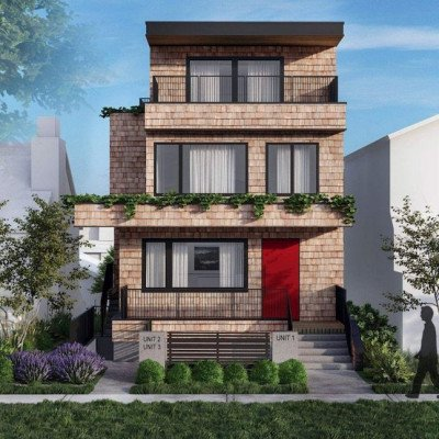 Rendering of front façade of proposed new development