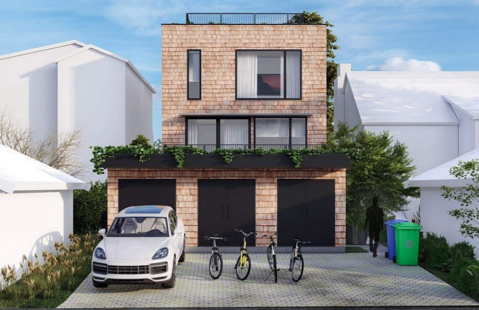 Rendering of rear façade of proposed new development