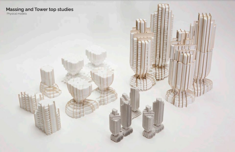 Physical models of the towers and massing