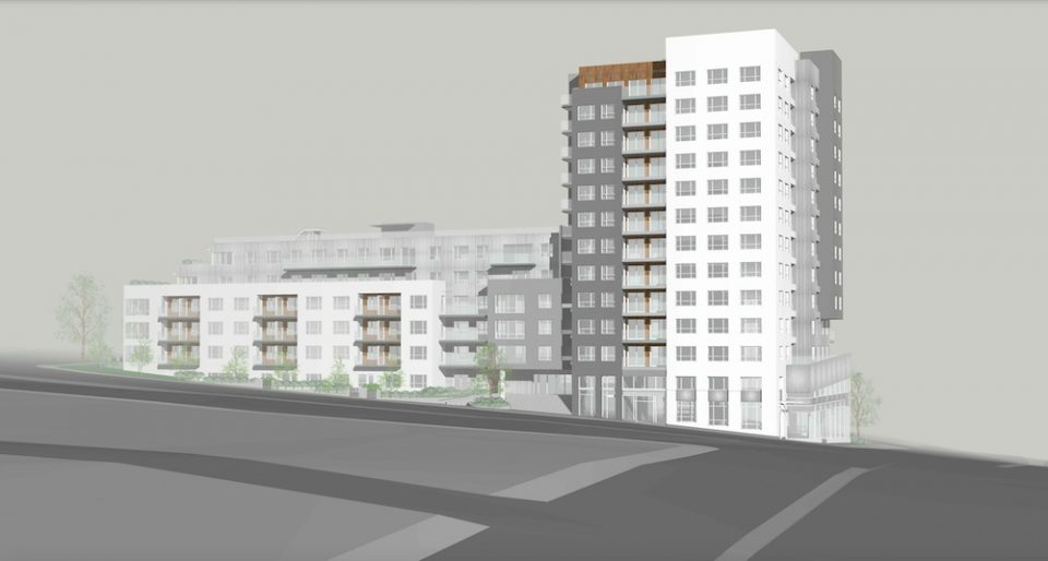 East Broadway and Renfrew Tower and podium rendering