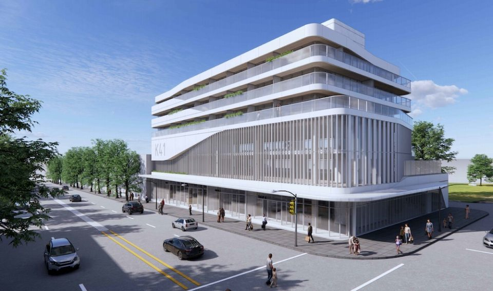 Building rendering, West 41st Avenue frontage