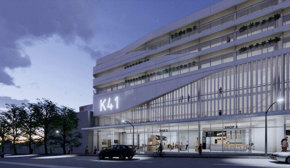 Building rendering at dusk - West 41st Ave.