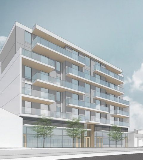Street level view of proposed building along Kingsway
