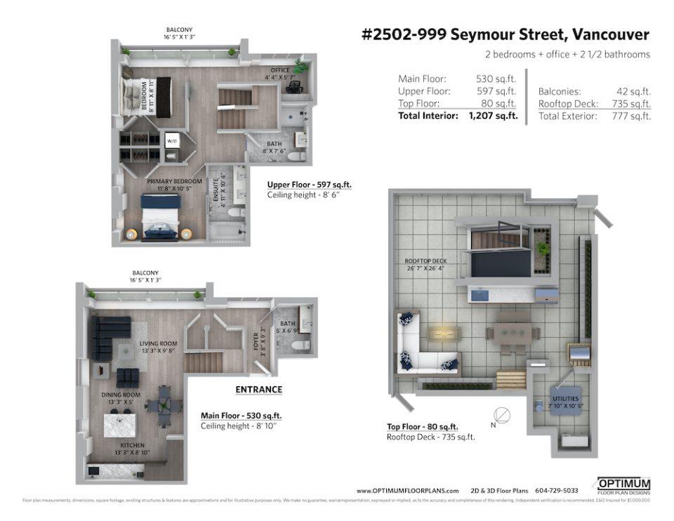 3D floor plan of #2502-999 Seymour Street