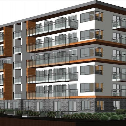 Exterior rendering (Southwest Marine Drive corner with Manitoba Street)
