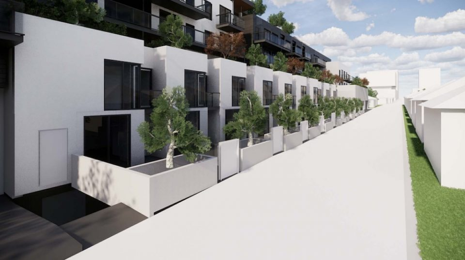 Perspective, townhouse frontage at lane