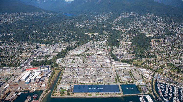 Aerial view of North Harbour by Concert Properties in North Vancouver