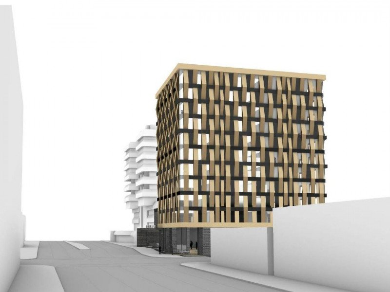 Rendering of upcoming hotel by Hallmark Hospitality at West Broadway and Laurel Street