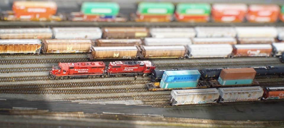 Screenshot of 'miniature' train yard adjacent to Gastown.